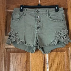 High Rise Army Green Shorts with Floral Detail